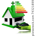 Gloved Hand Holding a Small Model House with the Energy Performance Chart 74321899