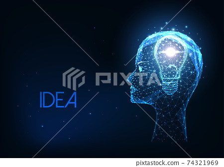 Futuristic creative idea concept with glowing low polygonal human head and light bulb 74321969