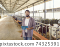 Farm owner with a clipboard in his hands standing in a long cowshed near the corral with calves. 74325391