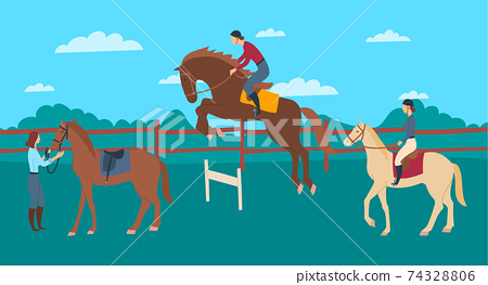 Cartoon Color Characters People and Horse Rider School Concept. Vector 74328806