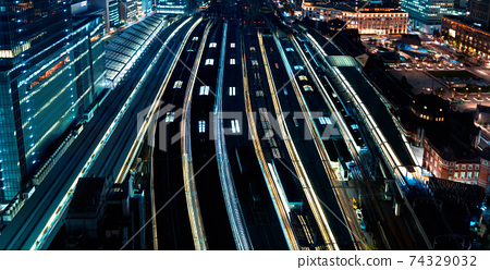 Aerial view of trains in Tokyo station, Japan 74329032