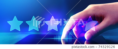 Rating star concept with tablet computer 74329126