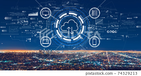 Cloud computing with downtown Los Angeles 74329213