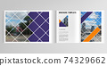 3d realistic vector layout of cover mockup templates for A4 bifold brochure, cover design, book, magazine, brochure cover. Abstract design project in geometric style with squares and place for a photo 74329662
