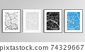 Realistic vector set of picture frames in A4 format isolated on gray background with urban city map of Paris. 74329667