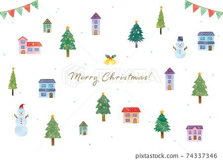 聖誕城市景觀和雪賀卡圖 74337346