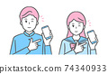 Illustration of middle and high school boys and girls who point to a smartphone and wink. School run and sailor suit 74340933