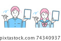 Illustration of middle and high school boys and girls with tablets and touch pens School run and sailor suit 74340937