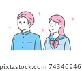 Illustration of middle and high school students looking up, school uniform and sailor suit 74340946
