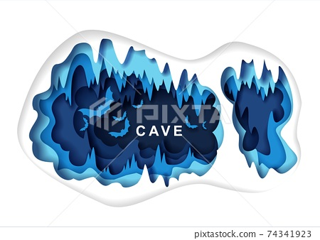Paper cut craft style cave with bat silhouettes, vector illustration. Speleology or cave science, sport tourism. 74341923