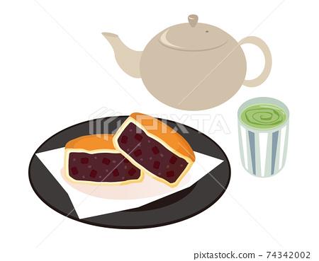 Imagawayaki:九州的矢量圖和僅茶和茶杯 74342002