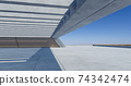 Concrete floor and modern rooftop building with blue sky. 74342474