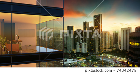 Panoramic view of beautiful evening cityscape 74342478