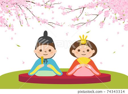 Hina娃娃的例證Hinamatsuri的。坐在櫻花下的領主和公主。 74343314