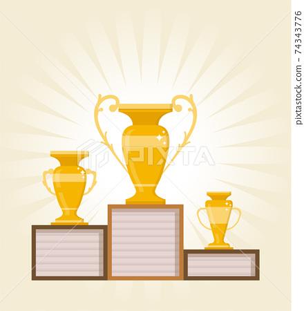 Cup, Medal, Prize, Goblet on podium symbol in flat style. illustration logo vector design 74343776