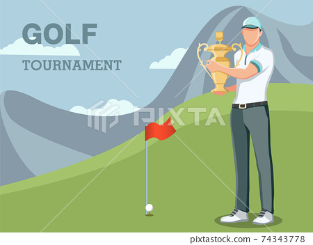 man winner getting first prize. First place champion trophy reward. achievement concept for banner 74343778