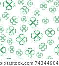 Green shamrock seamless pattern. Background of fourleaf clovers. Simple flat vector illustration 74344904