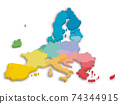 Colorful 3D map of EU countries 74344915