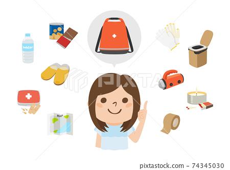 비상용 가방에 넣어 상품을 가르치고있는 여성의 일러스트. 음식과지도, 상비약 등. 74345030