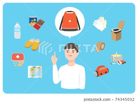 비상용 가방에 넣어 상품을 가르치고있는 남성의 일러스트. 음식과지도, 상비약 등. 74345032