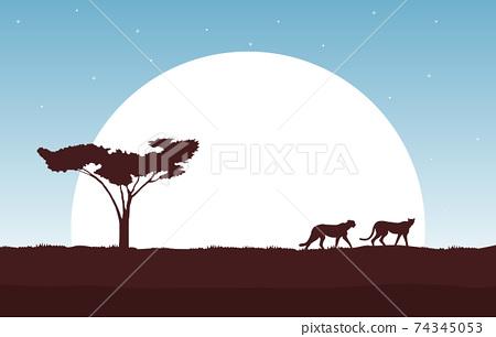 Cheetah in Big Sun Animal Savanna Landscape Africa Wildlife Illustration 74345053