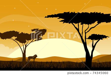 Lion Tree Animal Savanna Landscape Africa Wildlife Illustration 74345060