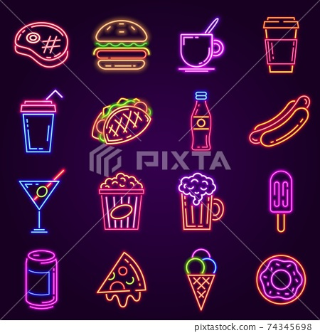 Neon fast food. Glowing icon for cafe and bar street sign with burger, popcorn, hot dog, coffee and pizza. Cocktail and beer club vector set 74345698