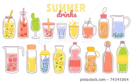 Cartoon juice and lemonade. Refreshing summer drinks with lemon in glass, bottle or jug. Fruit or berry beverages and cocktails vector set 74345864