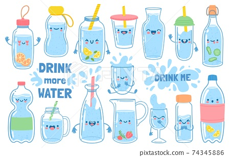 Drink more water. Bottles, glass and jug with funny cartoon faces. Detox waters with lemon and mint. Motivation for health habit vector set 74345886