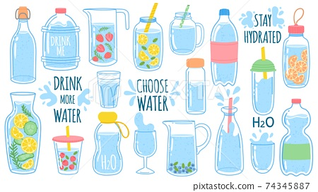 Cartoon water bottles. Detox drinks with lemon and cucumber. Sports and glass bottle and glasses with liquids. Drink more water vector set 74345887