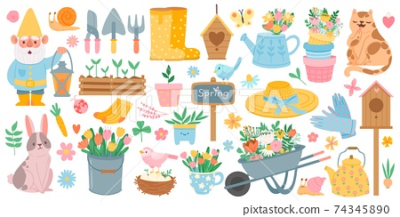 Spring elements. Blooming flower, cute animals and birds. Springtime garden decoration, birdhouse, tool and plants, drawn cartoon vector set 74345890