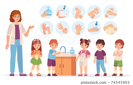 Kids washing hands. Cartoon children at school use soap to skin in bathroom. Prevent virus and infection concept. Hygiene vector infographic 74345903