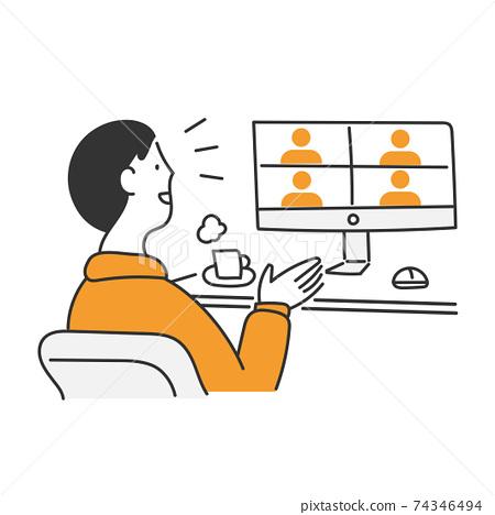 開遠程會議的人的插圖素材 74346494