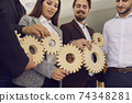 Company workers joining cogwheels as metaphor for efficient business system and management 74348281