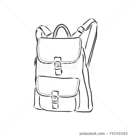 vector sketch illustration - hipster backpack. backpack vector sketch illustration 74350303