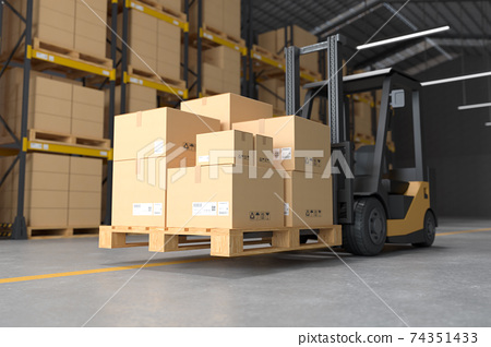 Forklift in the warehouse. 74351433