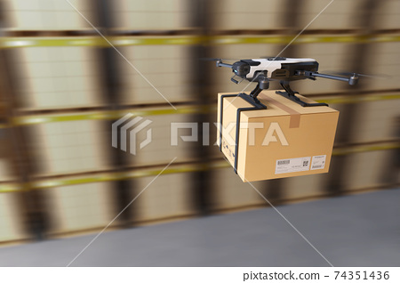 Delivery drone in warehouse. 74351436