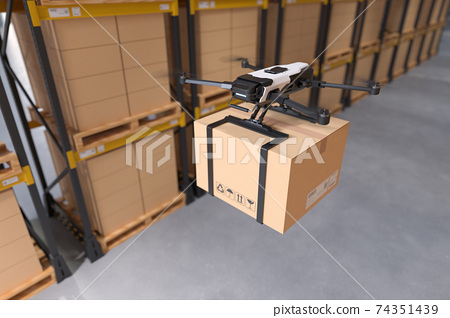 Delivery drone in warehouse. 74351439