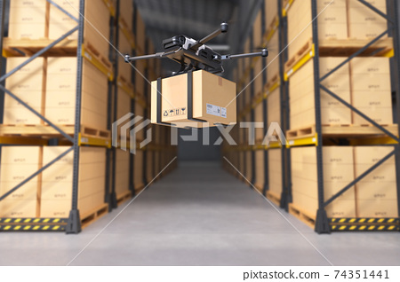 Delivery drone in warehouse. 74351441