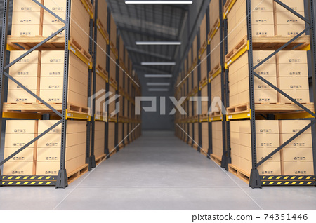 Warehouse interior, Manufacturing Warehouse. 74351446