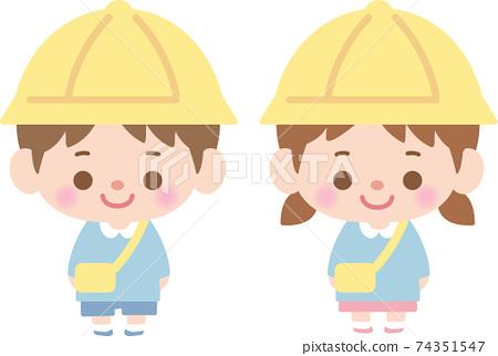 Children's boys and girls standing straight 74351547