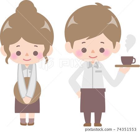 카페에서 일하는 남성과 여성 74351553