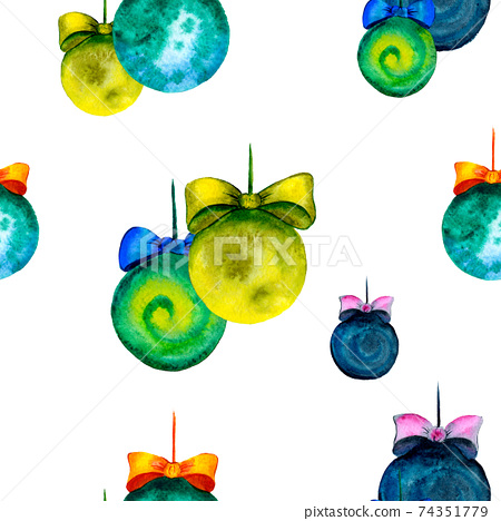 Watercolor balls without patterns. New Year and Christmas seamless pattern. Drawing for fabric or gift wrapping 74351779