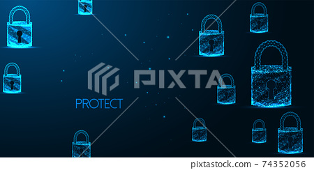 Futuristic cyber security banner concept with glowing low polygonal padlocks on dark blue 74352056