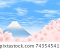 櫻花舔富士山進行橫向寫作 74354541