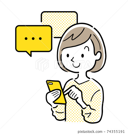 벡터 일러스트 소재 : 스마트 폰에서 메시지 교환을하는 젊은 여성 74355191