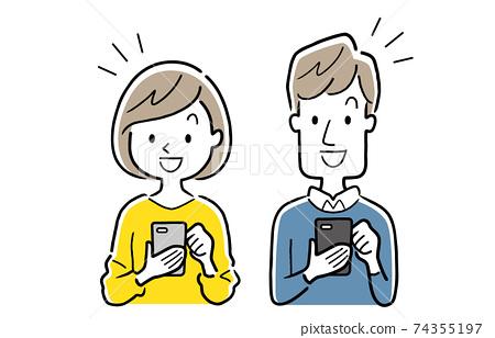 矢量圖材料:年輕男子和婦女使用智能手機 74355197