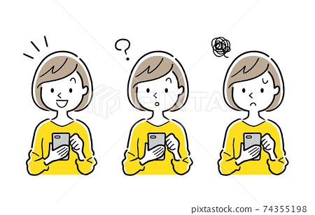 矢量圖材料:年輕女子使用智能手機,設置 74355198
