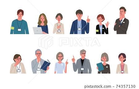 一名商人和一個商務人士的插圖多個男人和女人設置 74357130