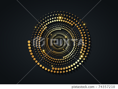 Gold Halftone dots in circle form. round logo. vector dotted frame. Spiral, twirl design concentric circles geometric element, abstract representation of technological eye concept, isolated on black 74357210